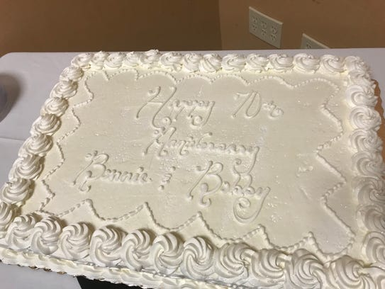 """The cake: """"Happy 70th Anniversary, Bonnie and Bobby."""