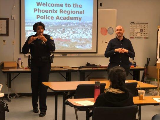 Phoenix Police Chief Jeri Williams speaks at an educational
