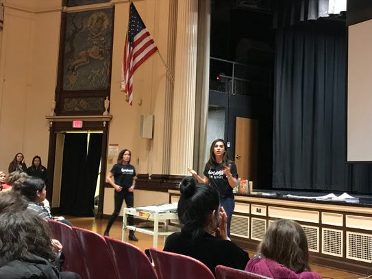 "Nutley student assistance counselors Lisa Cassilli, left, and Lauren Alfaro discuss the anti-bullying documentary, ""Finding Kind,"" on April 17, 2018."