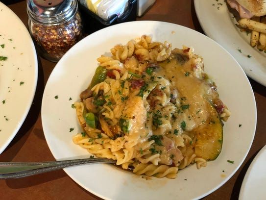 The verdura al forno pasta dish.