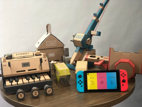 Nintendo Labo projects include a piano and fishing