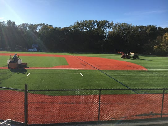 The new all-turf baseball field at Eastridge High School was completed in November of 2017. It'll be used for baseball. The outfield, which is lined for soccer, can be used as a practice field for soccer, field hockey and football if the school's stadium field is in use. Modified games can be played there, too.