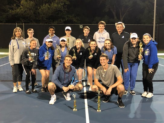 Abilene Christian High School tennis players pose with