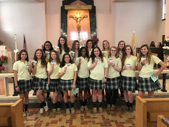 Most of the newly inducted members of Our Lady of Mercy