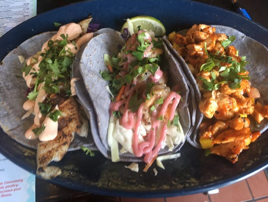 Catfish, Shrimp and Maple Chicken Tacos from Mexicali Blue in New Paltz.