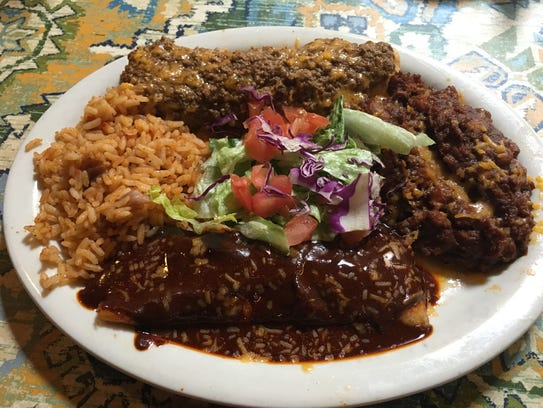 Cheese enchilada with mole (front).