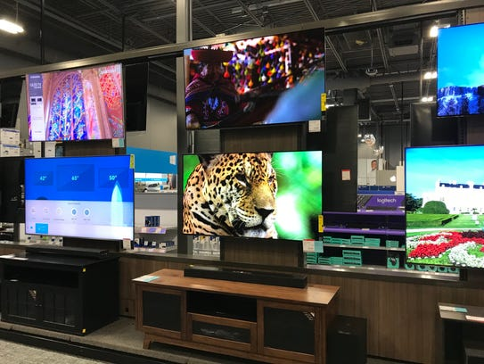 Big screen TVs at the new Best Buy in Paramus.