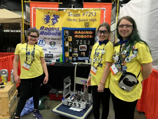 The robotics team from Shelby Junior High in Shelby
