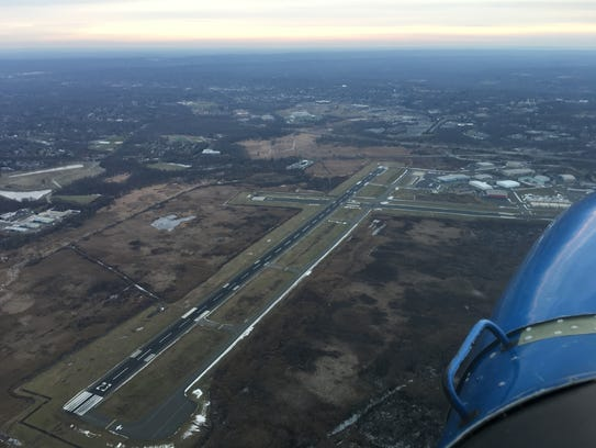 An aerial view of Morristown Airport where President