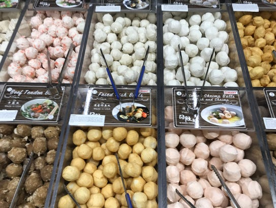 Fish and meat balls at H Mart in Paramus.