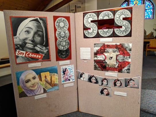 An art display, created by 18-year-old Eman Azrak,