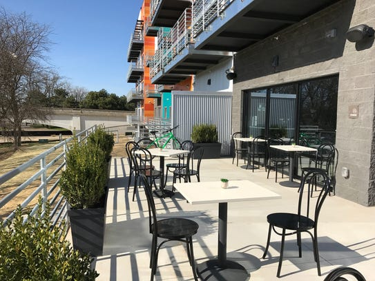 A view from the patio of MP Social in Marketplace Apartments