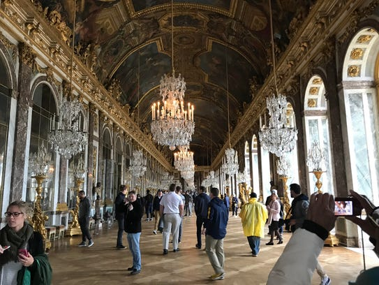 Inside the Palace of Versailles' Hall of Mirrors.