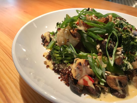 Roasted cremini mushrooms, charred cauliflower and