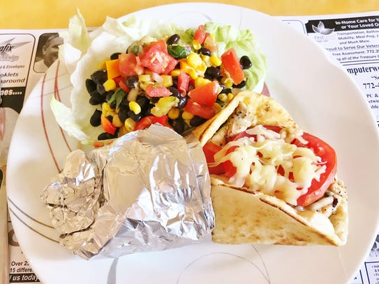 Vista Grill's Olympian Grilled Pita with grilled chicken,