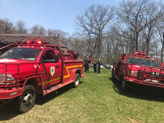 Responders at the scene of a brush and forest fire