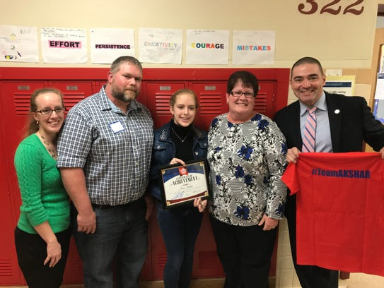 East Middle School eighth grader Alana Hadden was recognized