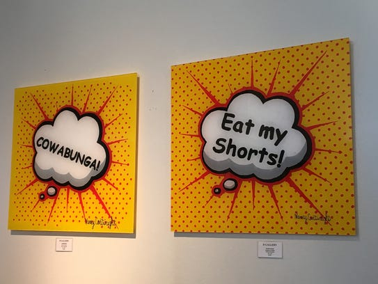 Roy Lichtenstein inspired paintings by Nancy Cartwright,