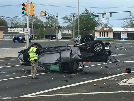 Police investigate a two-vehicle crash in Brick at