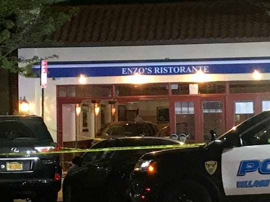 A car that drove into Enzo's Ristorante at 451 Mamaroneck