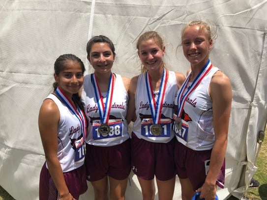 Lingleville finished second in the Class 1A girls 800-meter relay at the UIL State Track and Field Championships at the University of Texas' Mike A. Myers Stadium in Austin on Saturday, The team of Samantha Rodriguez (from left), Selina Alvarado, Nicole Koke and Ilse Depoer finished in 1:48.56.