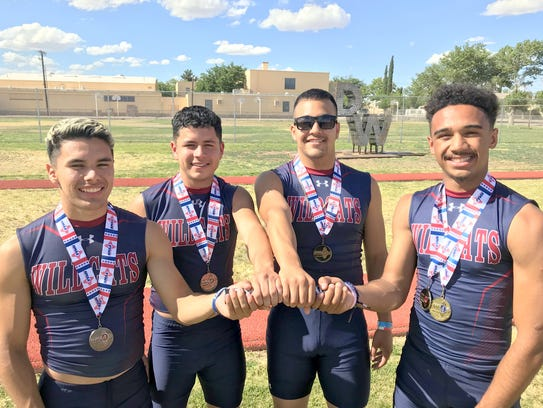 From left, the Deming High Wildcats 4x100m relay team
