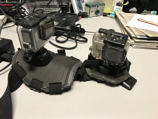 A look at the GoPros and dog harness that was found