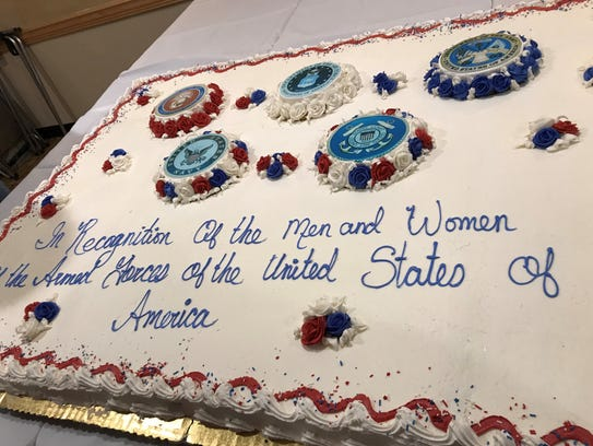 Cake honoring all branches of service at the Armed