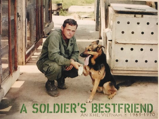 Dave Rude with his dog Princess in Vietnam. Rude was