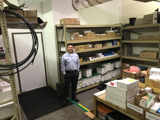 Fleenor Security Systems' office includes a parts room