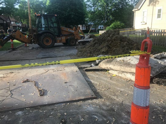 The sinkhole will remain covered until a more permanent