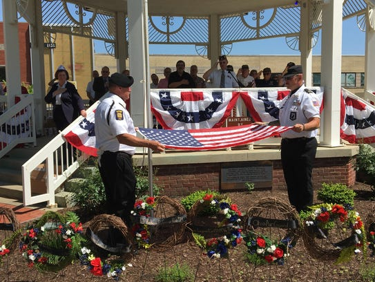 Members of the VFW Post 3494 Color Guard retire the