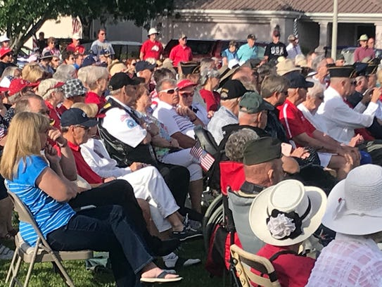 A crowd of several hundred people gathered in SunRiver