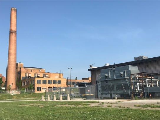 The power plant amid the CityGate development emits