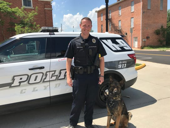 Clyde Police K-9 handler Tony Travagliante and dog