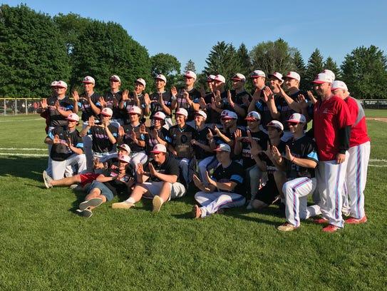 The Arrowhead baseball team celebrates its sectional final victory over Sun Prairie on Tuesday.
