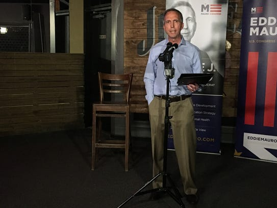 Iowa Congressional candidate Eddie Mauro gives a concession