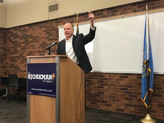 Tim Bjorkman, a U.S. House candidate, speaks at a news