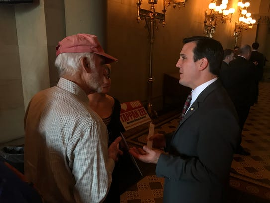 Assemblyman Kevin Byrne, right, chats with Richard