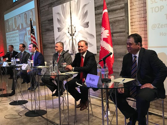 South Carolina 4th Congressional District candidates, from right, Lee Bright, Stephen Brown, James Epley, Dan Hamilton, Josh Kimbrell and William Timmons attended a forum Monday night hosted by the Greenville tea party.
