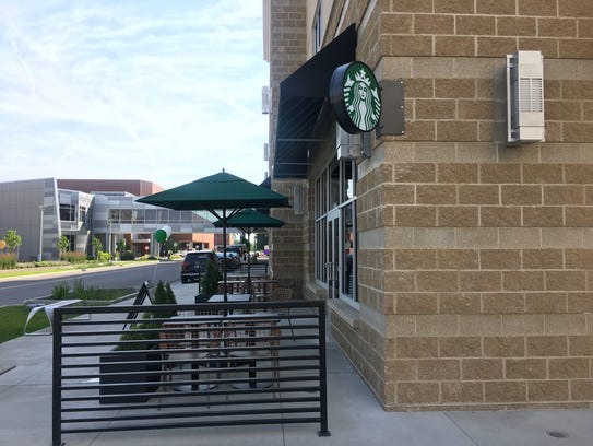 The new Downtown Starbucks in the Hilton DoubleTree, which includes some outdoor seating, is now open.