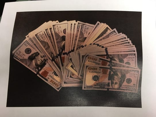 Photo of money used in a bribery attempt by Judge Casey