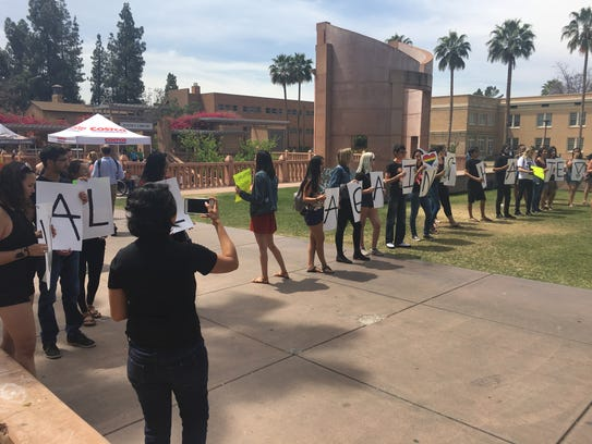 A class holds a protest against Trump's administration