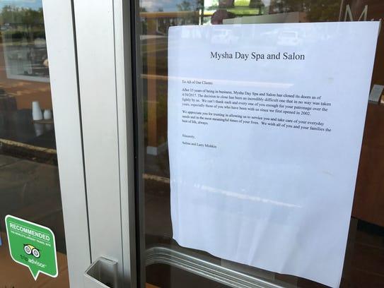 Mysha Day Spa Closed