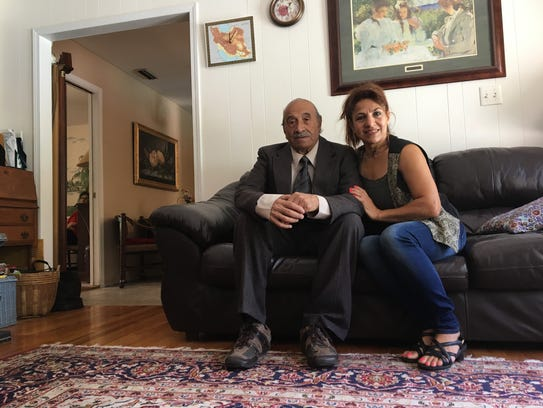 Nasrollah Shakibaei, 87, with his daughter Fereshteh