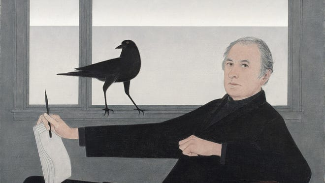 "Will Barnet's enigmatic 1981 self-portrait is one of the many portraits of artists in ""For America: Paintings from the National Academy of Design."""