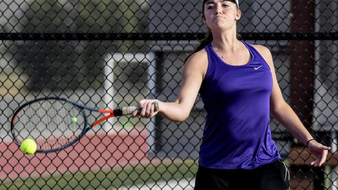 Garden City High School's Brooke Ptacek hits a forehand shot during a singles match Sept. 26 in the GCHS tennis invite.  Ptacek won the No. 2 singles division Monday at the WAC meet in Liberal.