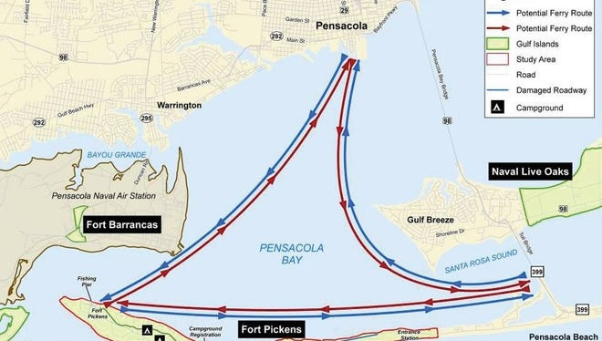 The planned route for the Pensacola Bay Ferry Service between downtown Pensacola, Fort Pickens and Quietwater Beach.