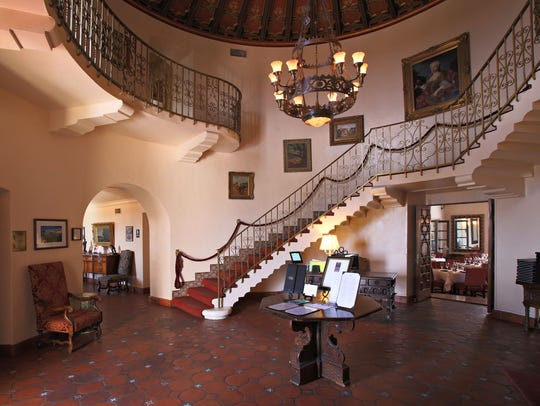 The main entrance that greets guests at Geordie's at the Wrigley Mansion in Phoenix.