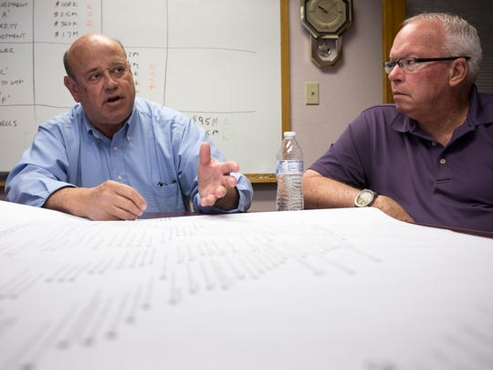 Buzz Walker, left, Payson's water superintendent, and Craig Swartwood, a real estate agent and former mayor, talk about Payson's water supply.